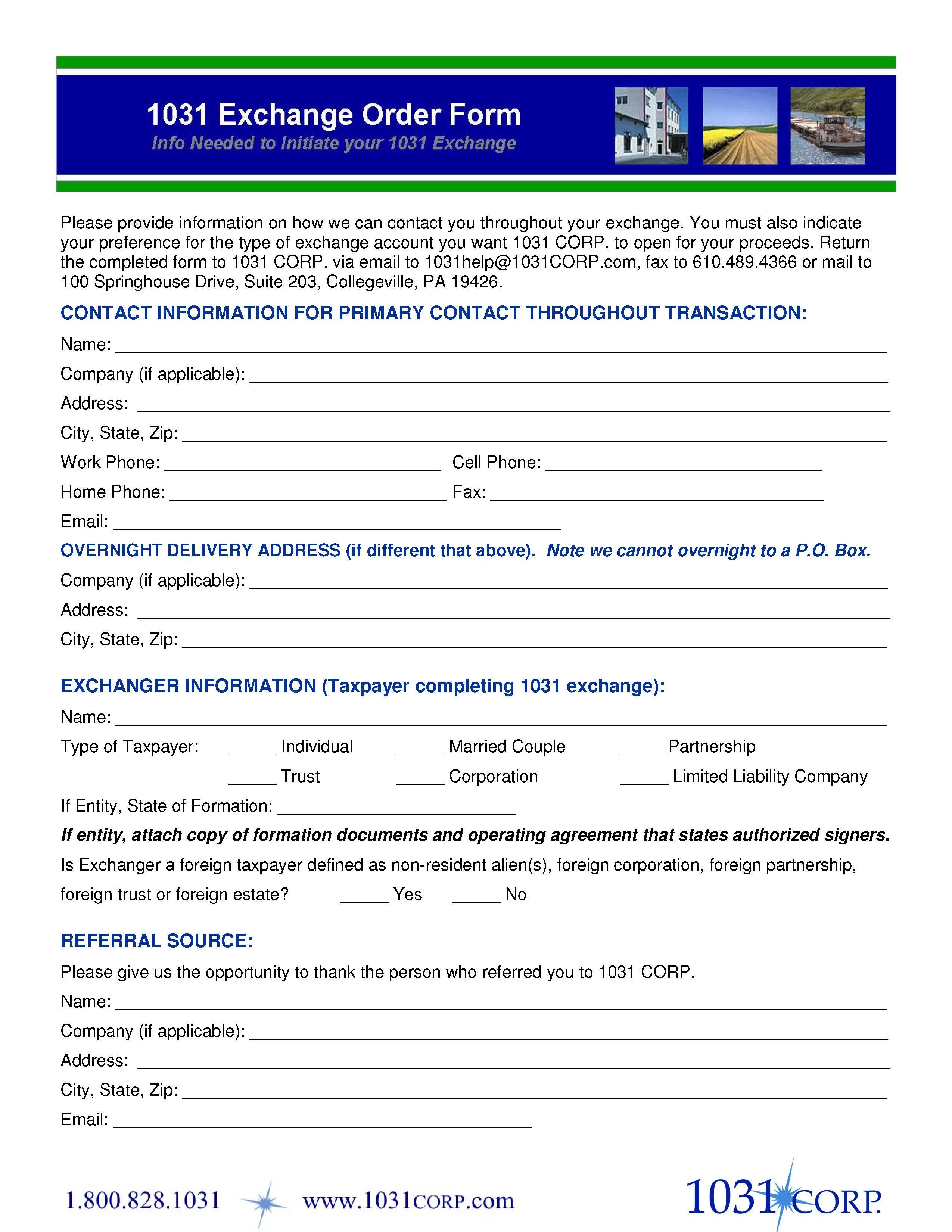 1031 Exchange Order Form